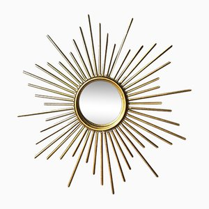 Mid-Century Gilded Metal Sun Mirror, 1960s