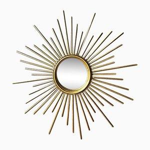 Specchio Mid-Century in metallo dorato, anni '60