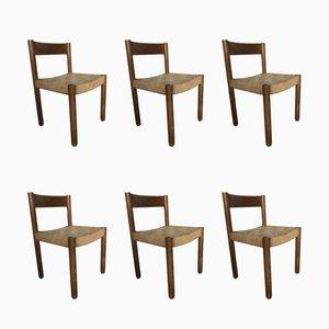 Esszimmerstühle aus Eichenholz & Seil, 1960er, 6er Set