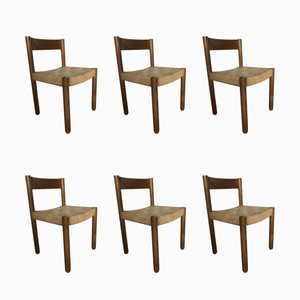 Oak & Rope Dining Chairs, 1960s, Set of 6