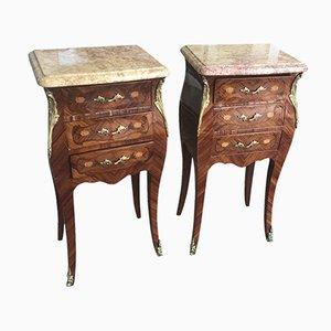Tables de Chevet Antiques en Palissandre et Marbre, Set de 2