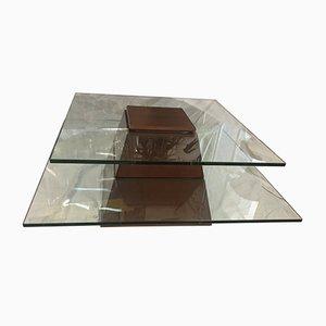 Tavolino da caffè vintage in vetro e legno, anni '70