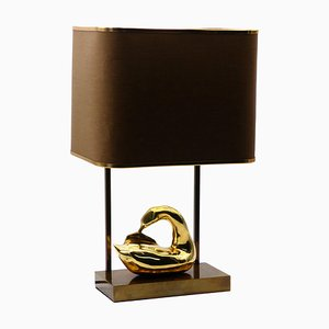 Lámpara de mesa francesa neoclásica vintage con cisne de latón, años 70
