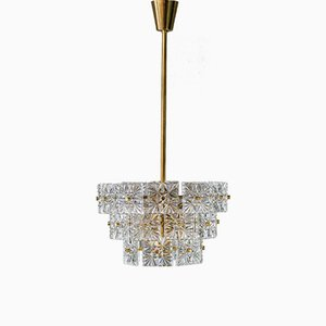 German Brass and Glass Chandelier from Kinkeldey, 1960s