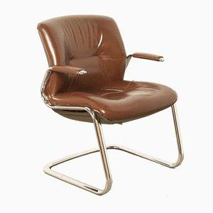 Sedia da scrivania modernista in metallo cromato e pelle di Steelcase, anni '70