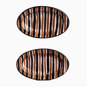 Cuencos Vallauris franceses ovalados de Robert Picault, años 40. Juego de 2
