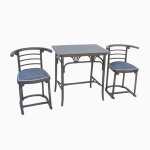 Table de Salle à Manger et 2 Chaises Antiques en Hêtre par Josef Hoffmann pour Mundus