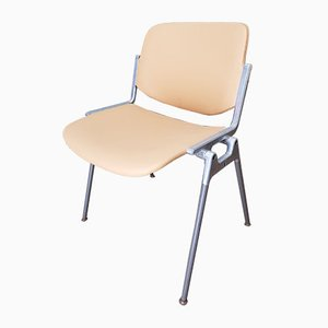Italian Aluminum and Beech Desk Chair by Giancarlo Piretti for Castelli, 1960s
