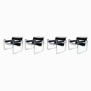 Mid-Century Model B3 Chrome-Plated & Leather Armchairs by Marcel Breuer for Gavina, 1960s, Set of 4