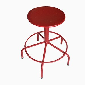 Mid-Century Metal and Wood Stool, 1950s