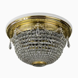 Vintage Brass and Glass Ceiling Lamp, 1920s