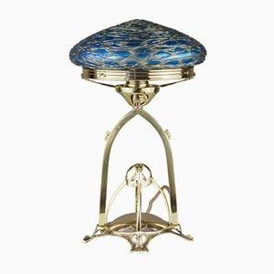 Antike Jugendstil Tischlampe aus Messing & Glas