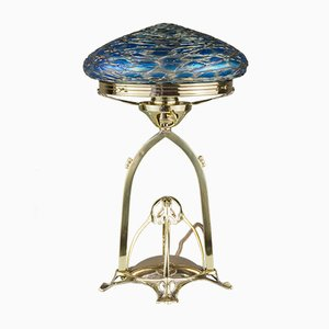 Antique Art Nouveau Brass and Glass Table Lamp