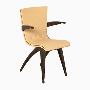 Beech and Skai Dining Chair by G van Os for Meubelfabriek Van Os Culemborg, 1950s