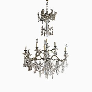 Lustre Antique en Bronze et Cristal