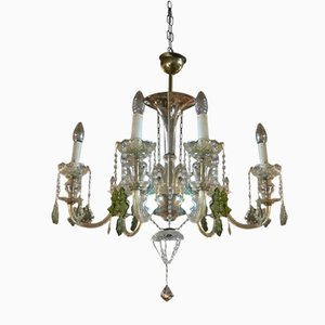 Mid-Century Crystal and Glass Chandelier, 1940s