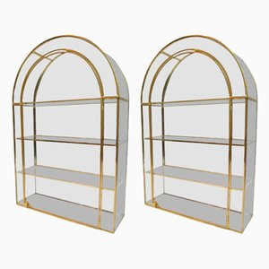 Regency Style Brass and Glass Display Cases, 1970s, Set of 2