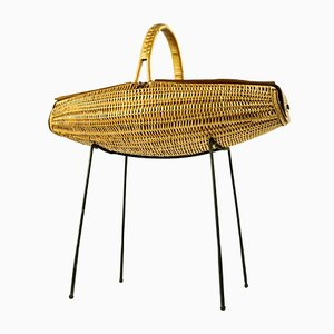 Leather and Rattan Sewing Basket from Bonacina, 1950s