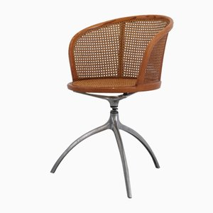 Italian Aluminum & Rattan Young Lady Swivel Chair by Paolo Rizzatto for Alias, 1991