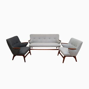 Scandinavian Modern Teak and Wool Living Room Set, 1960s