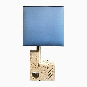 Lampada da tavolo in ottone e seta di Cesari Giuliano, Italia, anni '70