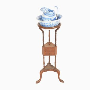 Mobiletto antico Giorgio III con brocca e scodella