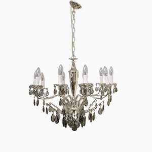 Empire Style Italian Chandelier with Smoked Glass Drops, 1960s