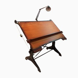 Industrial Beech, Cast Iron, & Oak Drawing Desk from Harper & Tunstall, 1940s