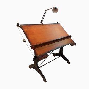 Tavolo da disegno industriale in faggio, ghisa e quercia di Harper & Tunstall, anni '40