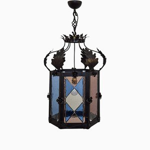 Italian Colored Glass Ceiling Lamp, 1980s