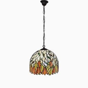 Lampada da soffitto Tiffany in vetro colorato, Italia, anni '80