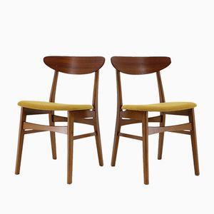 Dänische Esszimmerstühle aus Buche & Stoff von Farstrup Møbler, 1960er, 6er Set