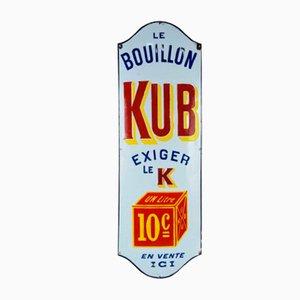 Großes Vintage Kub Bouillon Schild aus Emaille