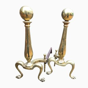 19th Century Brass Andirons, Set of 2