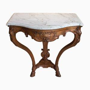 Table Console Antique en Merisier et Marbre