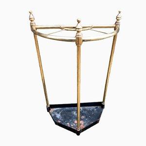 Antiker edwardianischer Schirmständer aus Messing & Stahl