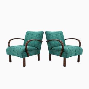 Armlehnstühle aus Stoff und Holz von Thonet, 1940er, 2er Set