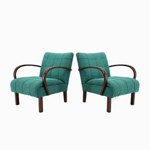 Fabric and Wood Armchairs from Thonet, 1940s, Set of 2