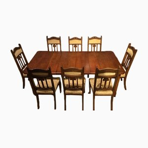 Art Nouveau Oak Dining Table Set, 1900s