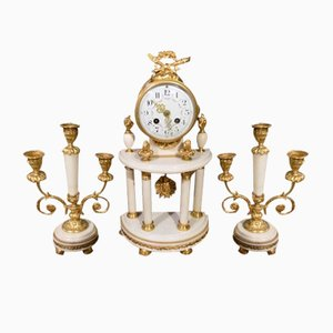Antique French Marble Clock & Candelabras Set, 1900s