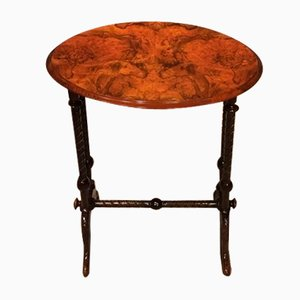 Antique Burr Walnut Side Table, 1880s