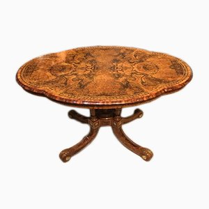 Antique Burr Walnut Console Table from Gillows of Lancaster, 1860s