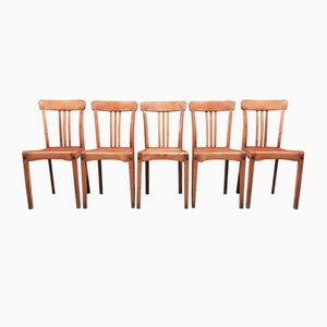 Mid-Century Industrial Oak Dining Chairs, 1950s, Set of 5