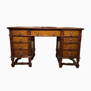 Antique Solid Oak Pedestal Desk, 1900s