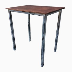 Industrial Beech and Iron Console Table, 1960s