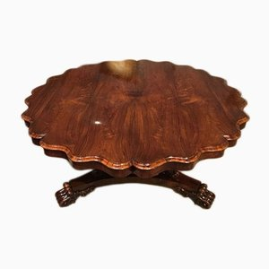 Antique William IV Period Rosewood Scalloped Dining Table, 1840s