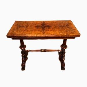 Tavolo da gioco antico pieghevole in noce