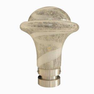 Italienische moderne Tischlampe aus Aluminium & Muranoglas, 1970er