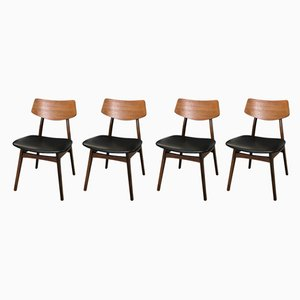 Mid-Century Teak & Leatherette Dining Chairs, 1960s, Set of 4