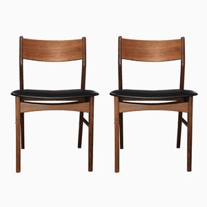 Danish Teak & Leatherette Dining Chairs, 1970s, Set of 2